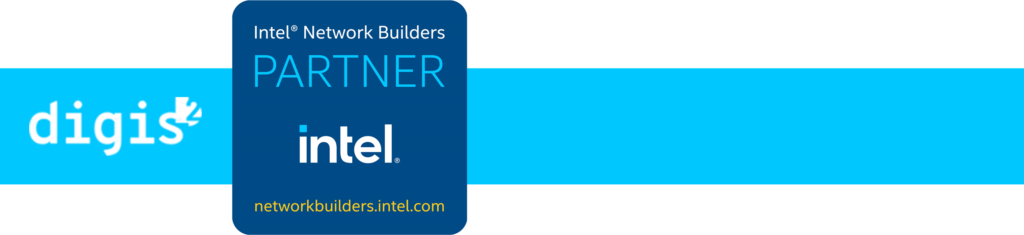 White Digis Squared logo sits next to the blue Intel Network Builders Partner logo