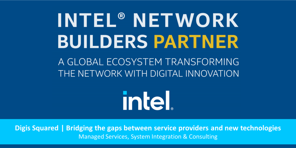 The blue Intel Network Builders Partner banner, with Digis Squared text below